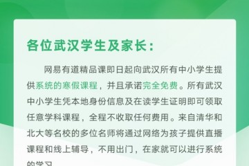 网易有道宣告向武汉中小学生免费供给线上寒假课程