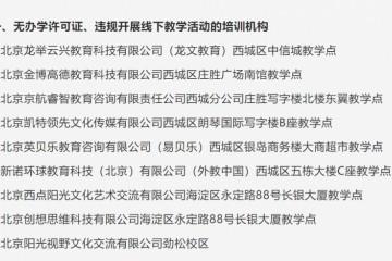 通报北京西城海淀朝阳三区无证办学擅自复课招生机构名单